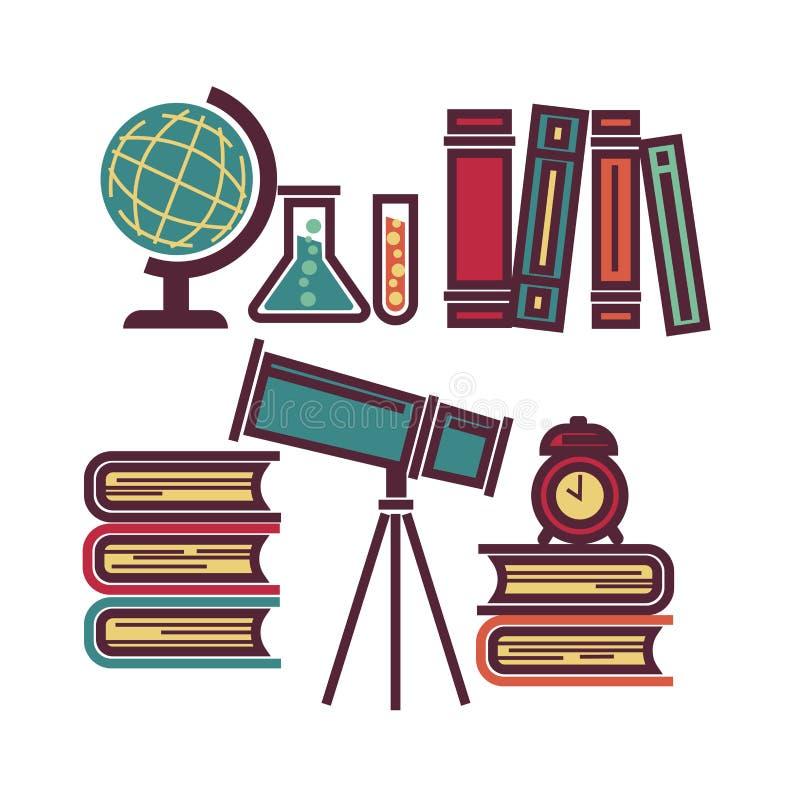 Elementi educativi della scuola royalty illustrazione gratis