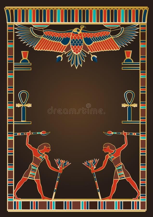 Elementi egiziani di progettazione e del fondo illustrazione di stock