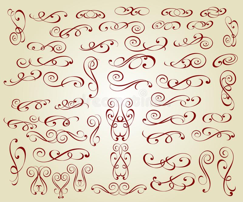 Elementi eleganti calligrafici di progettazione Vettore royalty illustrazione gratis
