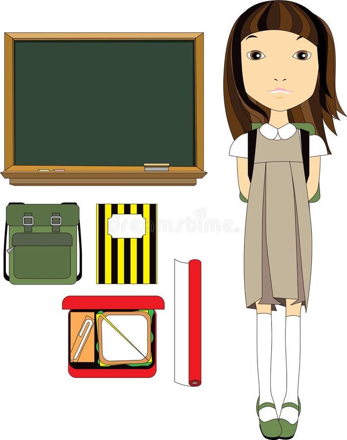 Elementi essenziali della ragazza e dell'aula del banco illustrazione vettoriale