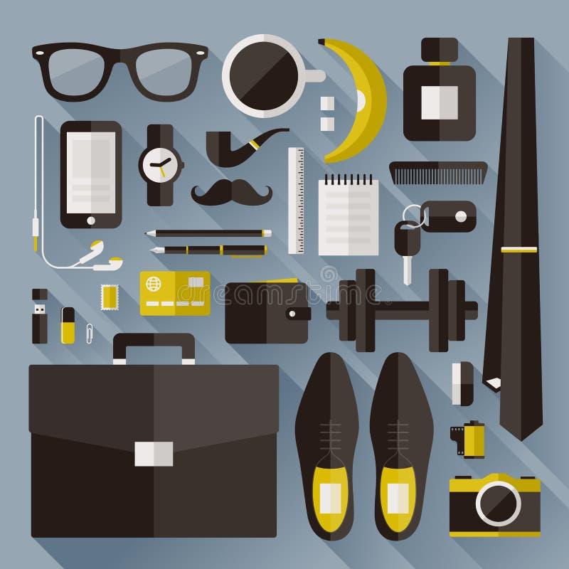 Elementi essenziali moderni dell'uomo d'affari. Elementi piani di progettazione con SH lungo royalty illustrazione gratis
