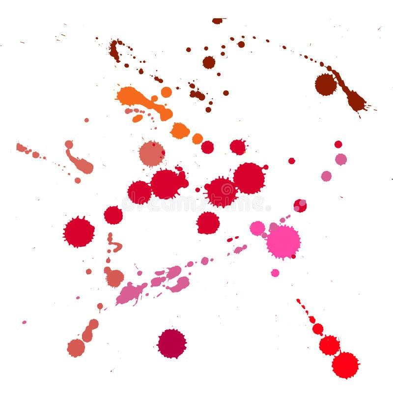 Elementi fatti a mano di goccia dell'inchiostro di lerciume illustrazione di stock