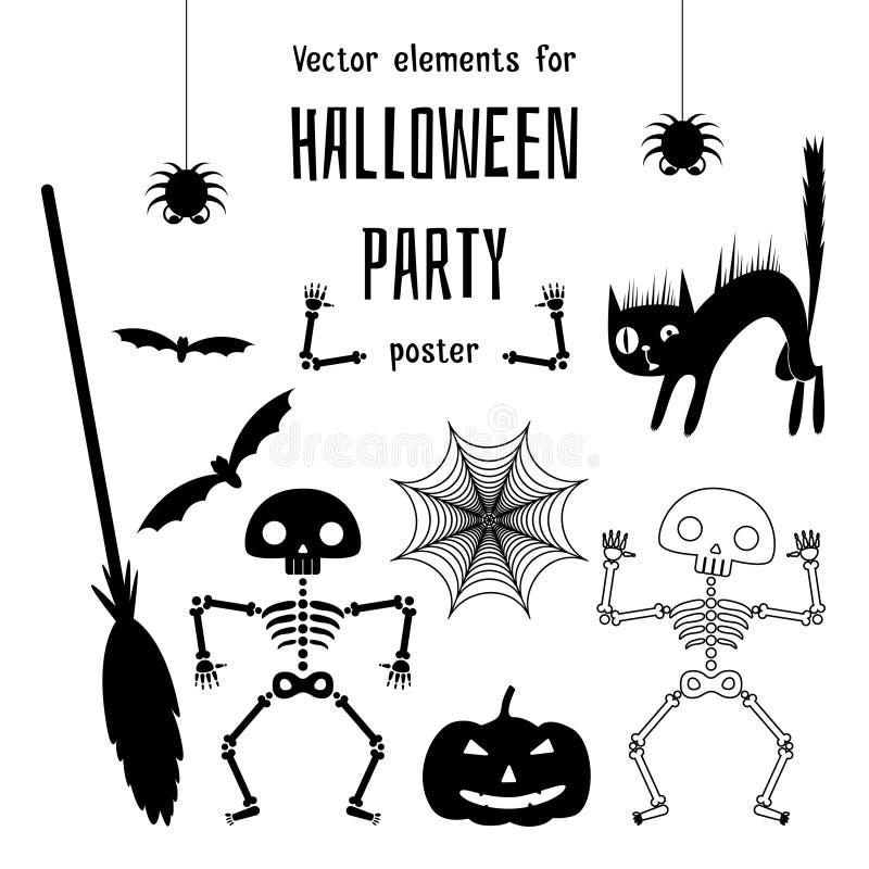 Elementi felici di progettazione di Halloween illustrazione di stock