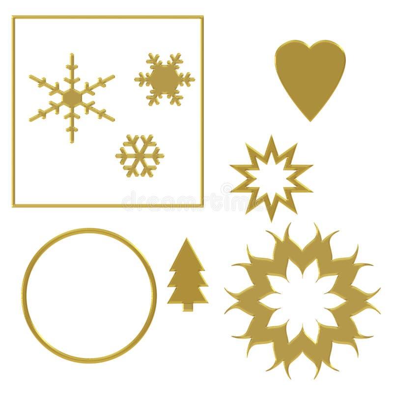 Elementi festivi ordinati con effetto dell'oro, isolato su fondo bianco con il bordo operato cesellato di effetto Cuore, cerchio illustrazione vettoriale