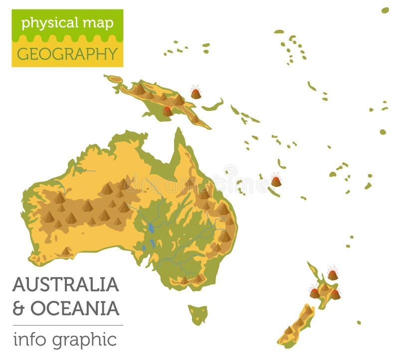 Elementi fisici della mappa di Oceania e dell'Australia Sviluppi il vostro proprio geog royalty illustrazione gratis