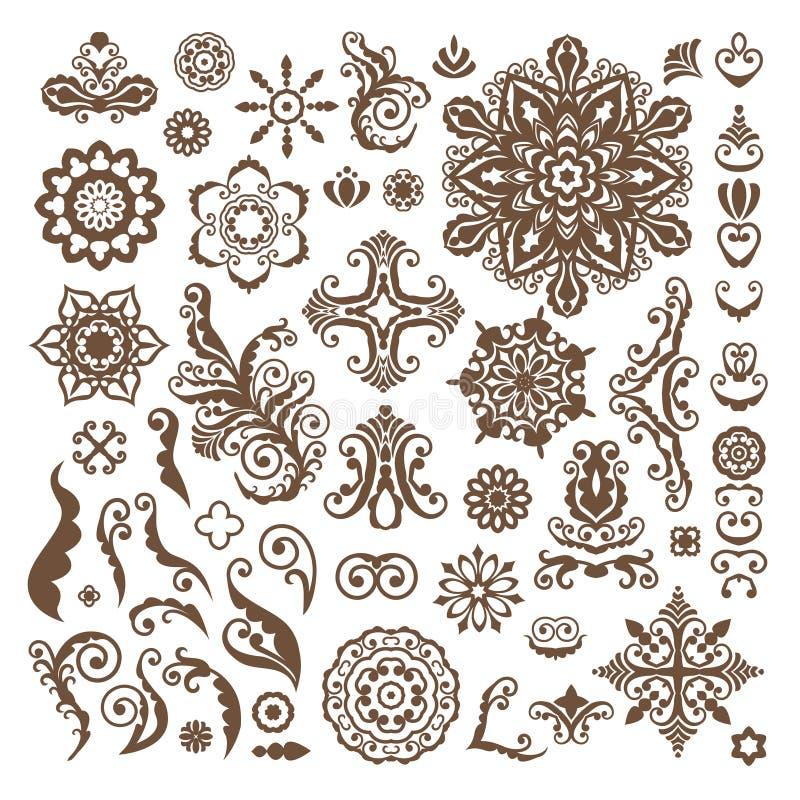 Elementi floreali astratti di progettazione dell'illustrazione su fondo bianco illustrazione vettoriale