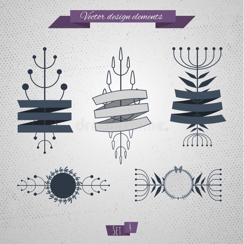 Elementi floreali con il nastro 04 illustrazione di stock