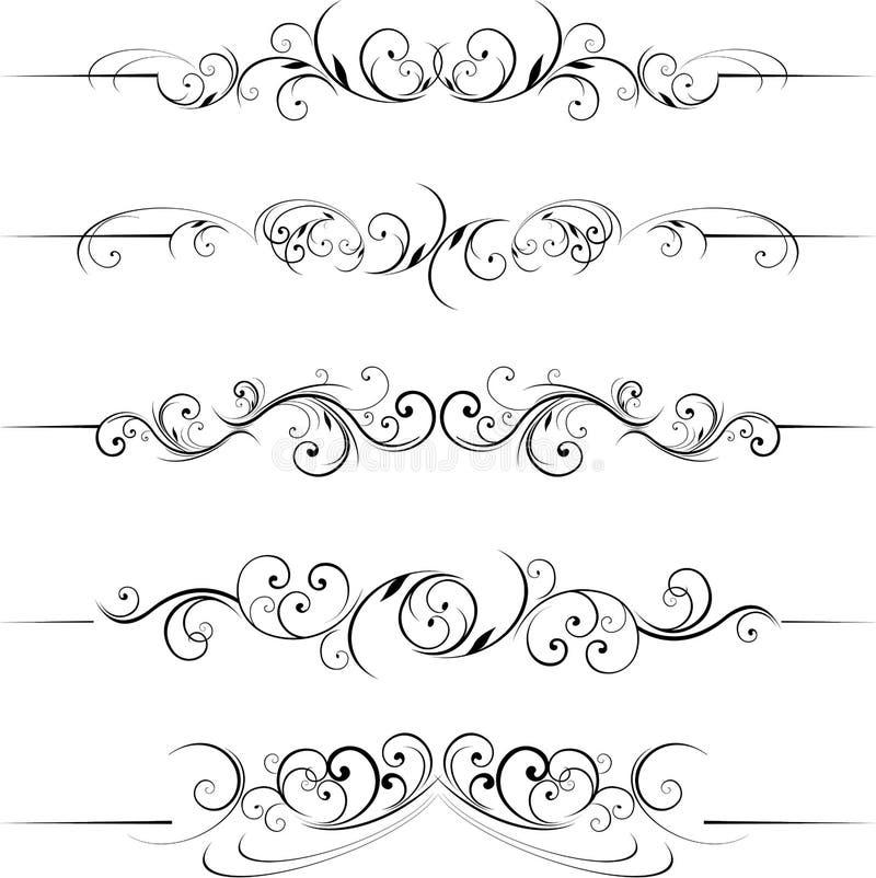 Elementi floreali decorativi di turbinio illustrazione di stock