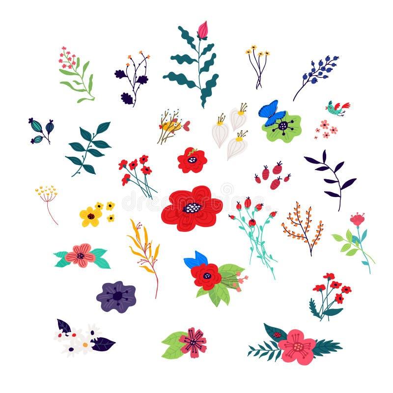 Elementi floreali decorativi Vettore Piante nello stile del fumetto Decorazioni per l'8 marzo Modello di fiore, ornamento per tes illustrazione di stock