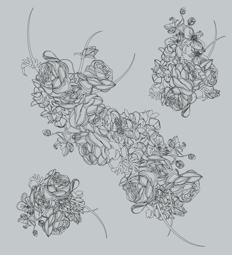 Elementi floreali di contorno del disegno illustrazione di stock