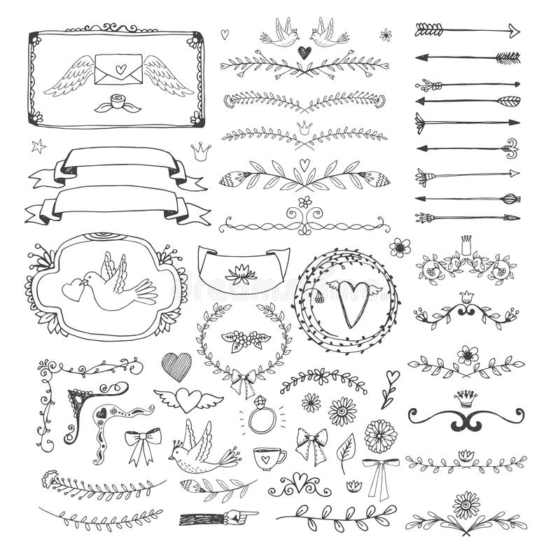 Elementi floreali disegnati a mano della pagina Turbinii, nastri illustrazione vettoriale