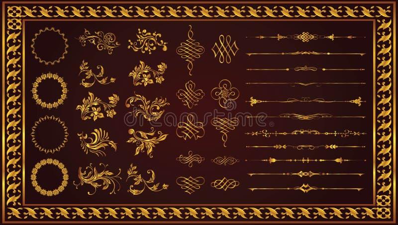 Elementi floreali piacevoli per colore dell'oro dell'insieme di giorno di S. Valentino illustrazione vettoriale