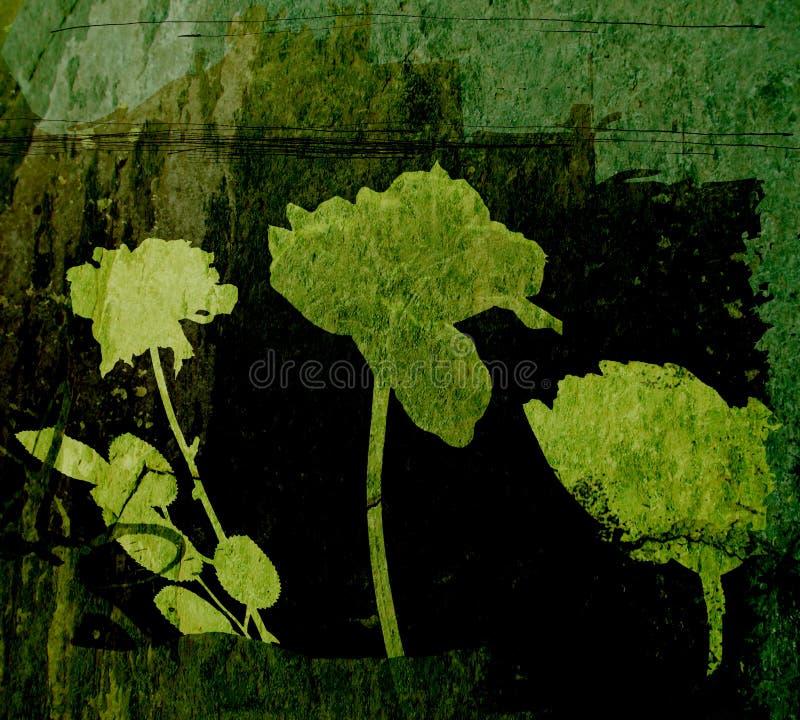 Elementi floreali sul contesto del grunge illustrazione di stock