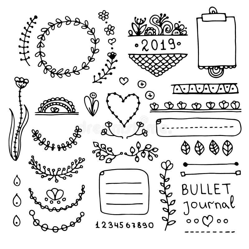 Elementi floreali svegli di progettazione di scarabocchio per il pianificatore illustrazione vettoriale