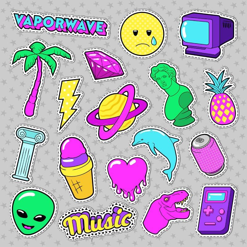 Elementi funky di modo di Vaporwave con cuore, gelato ed il pianeta per gli autoadesivi, distintivi illustrazione di stock