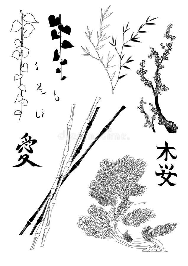 Elementi giapponesi dell'illustrazione illustrazione vettoriale