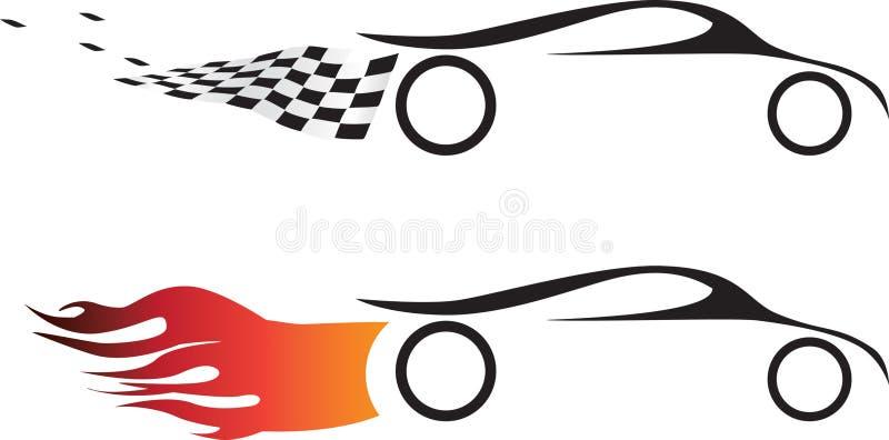 2 elementi grafici di logo delle automobili veloci di sport di motore illustrazione vettoriale