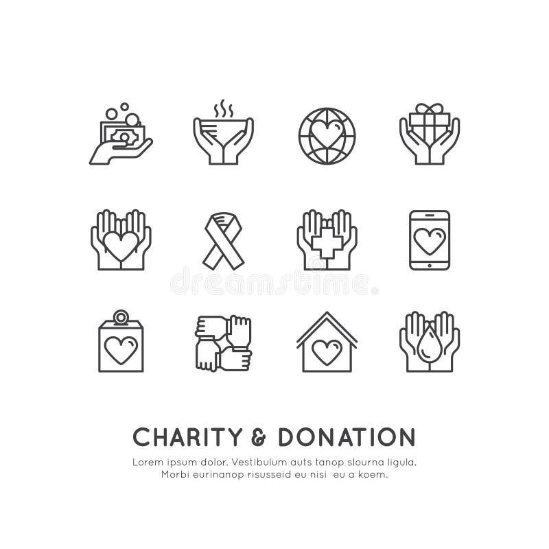 Elementi grafici per le organizzazioni no-profit ed il centro di donazione Simboli di raccolta di fondi, etichetta di progetto Cr immagine stock