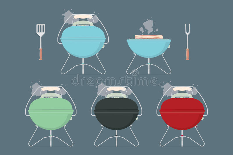 Elementi griglia/del barbecue per il menu del ristorante o il pranzo o il picnic all'aperto di fine settimana Illustrazione piana illustrazione vettoriale