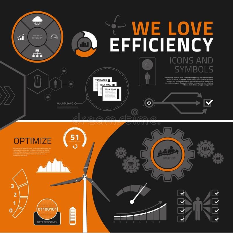 Elementi, icone e simboli infographic di efficienza illustrazione di stock