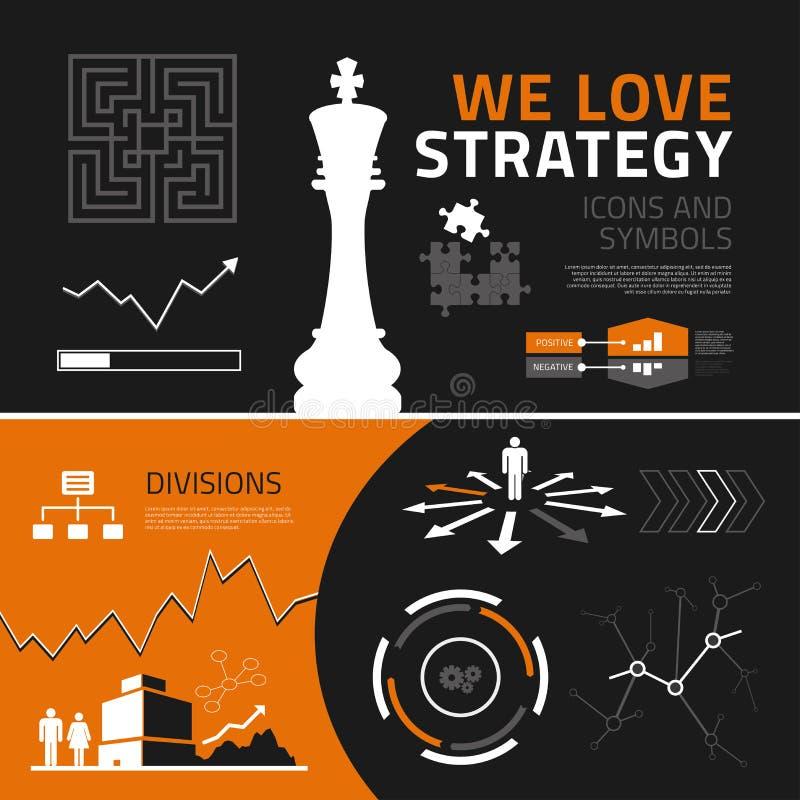 Elementi, icone e simboli infographic di strategia aziendale illustrazione di stock
