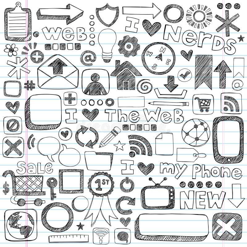 Elementi imprecisi di disegno del calcolatore dell'icona di Web di Doodle illustrazione di stock