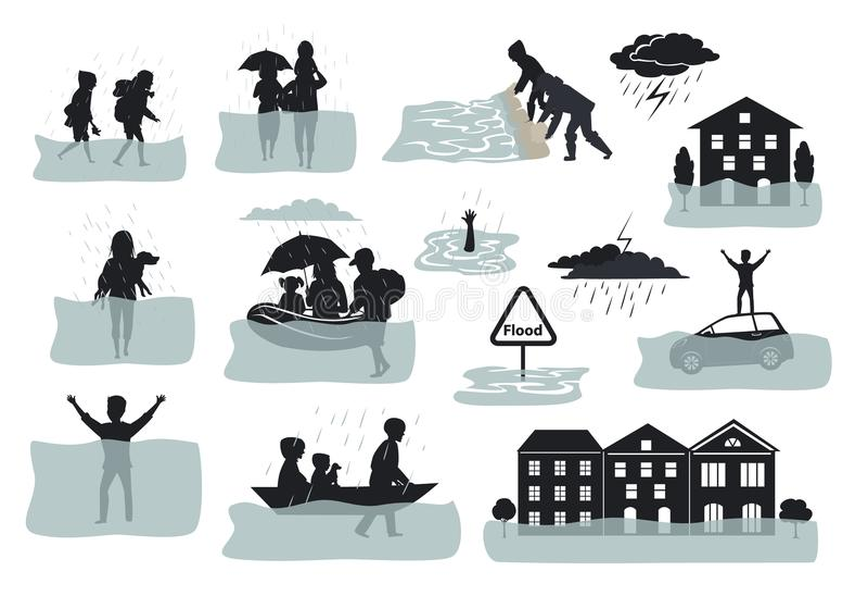 Elementi infographic della siluetta dell'inondazione le case sommerse, la città, l'automobile, la gente sfuggono a dalle acque di illustrazione vettoriale