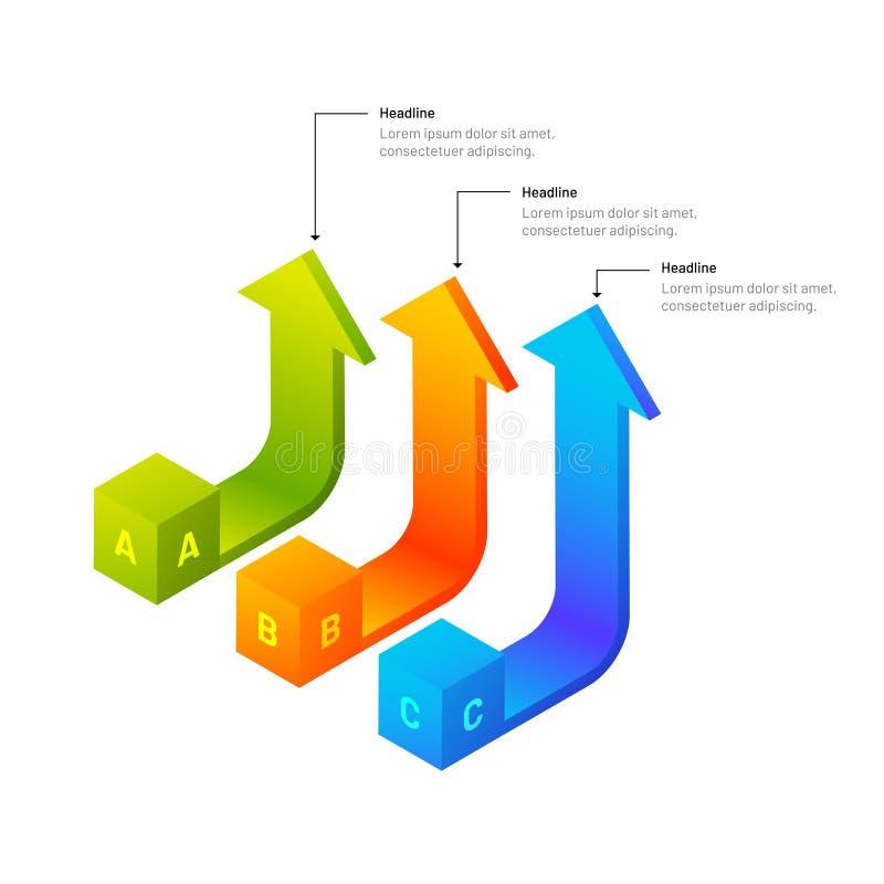 elementi infographic delle frecce isometriche 3D con tre livelli per la b royalty illustrazione gratis