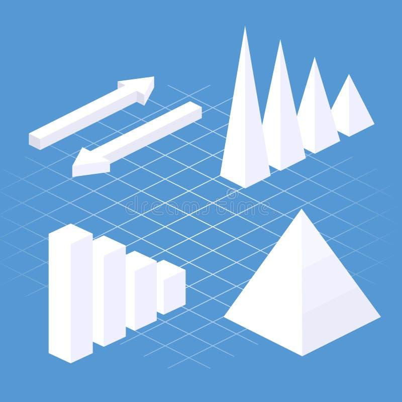 Elementi infographic piani isometrici 3D con le icone di dati e gli elementi di progettazione royalty illustrazione gratis
