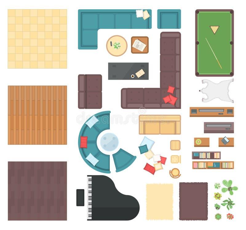 Elementi interni del club - l'insieme del vettore moderno obietta royalty illustrazione gratis