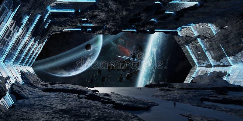 Elementi interni della rappresentazione 3D dell'astronave a forma di stella enorme di questa i illustrazione di stock