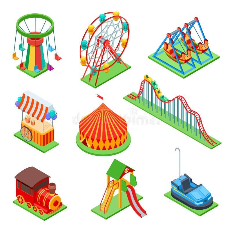 Elementi isometrici del parco di divertimenti Ruota panoramica e tenda di circo, cabina del popcorn e montagne russe Insieme di v illustrazione di stock