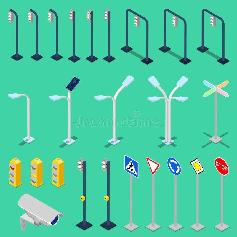 Elementi isometrici della strada di traffico con le luci della città illustrazione di stock