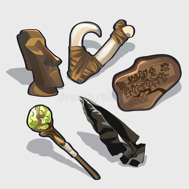 Elementi magici, idolo, calendario antico royalty illustrazione gratis