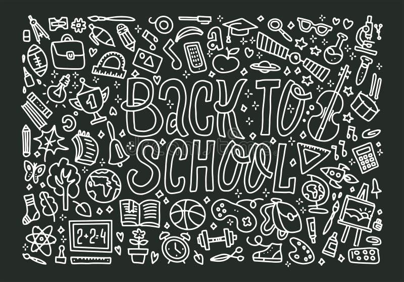 Elementi a mano libera della scuola del disegno di gesso sulla lavagna nera Di nuovo alla scuola, illustrazione di vettore illustrazione di stock