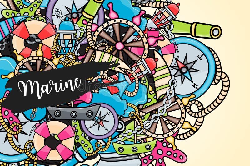 Elementi marini di scarabocchio, fondo disegnato a mano di stile illustrazione di stock