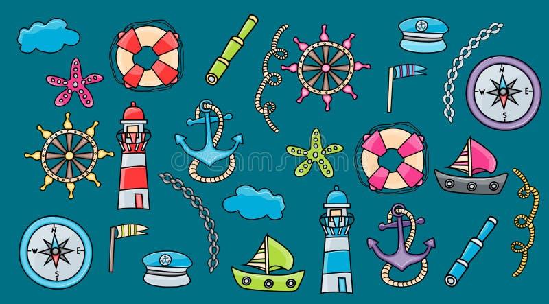 Elementi marini di scarabocchio, stile disegnato a mano illustrazione vettoriale