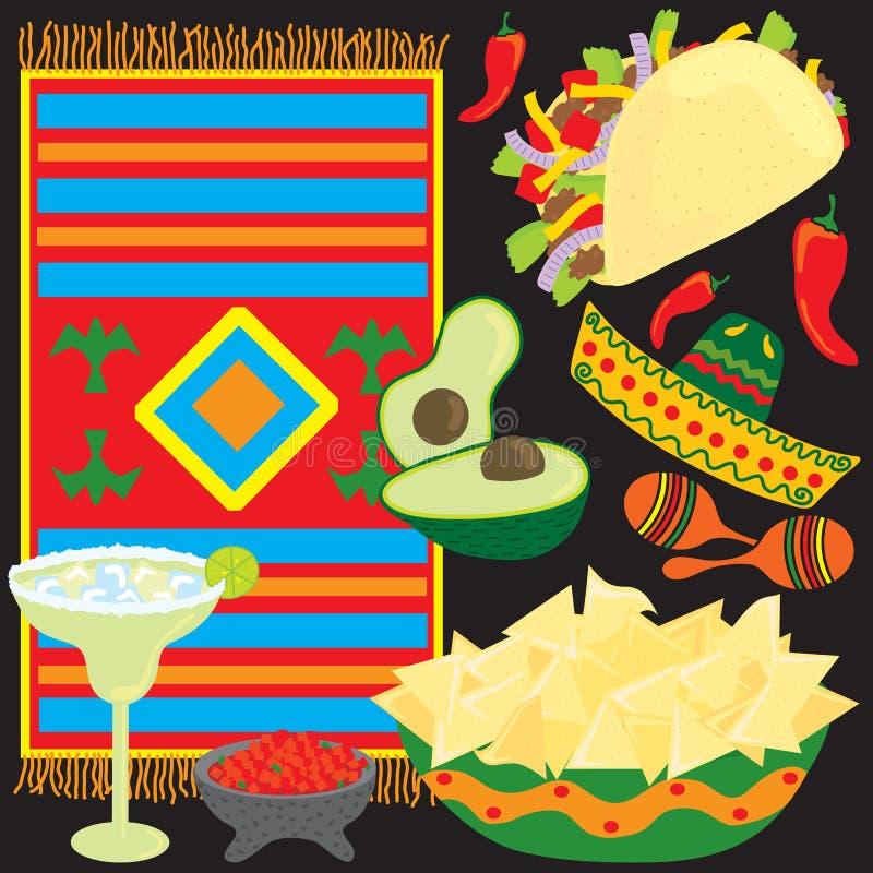 Elementi messicani del partito di festa illustrazione vettoriale
