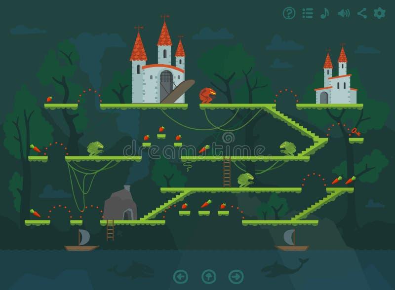 Elementi mobili di progettazione di interfaccia del livello del gioco della piattaforma illustrazione vettoriale