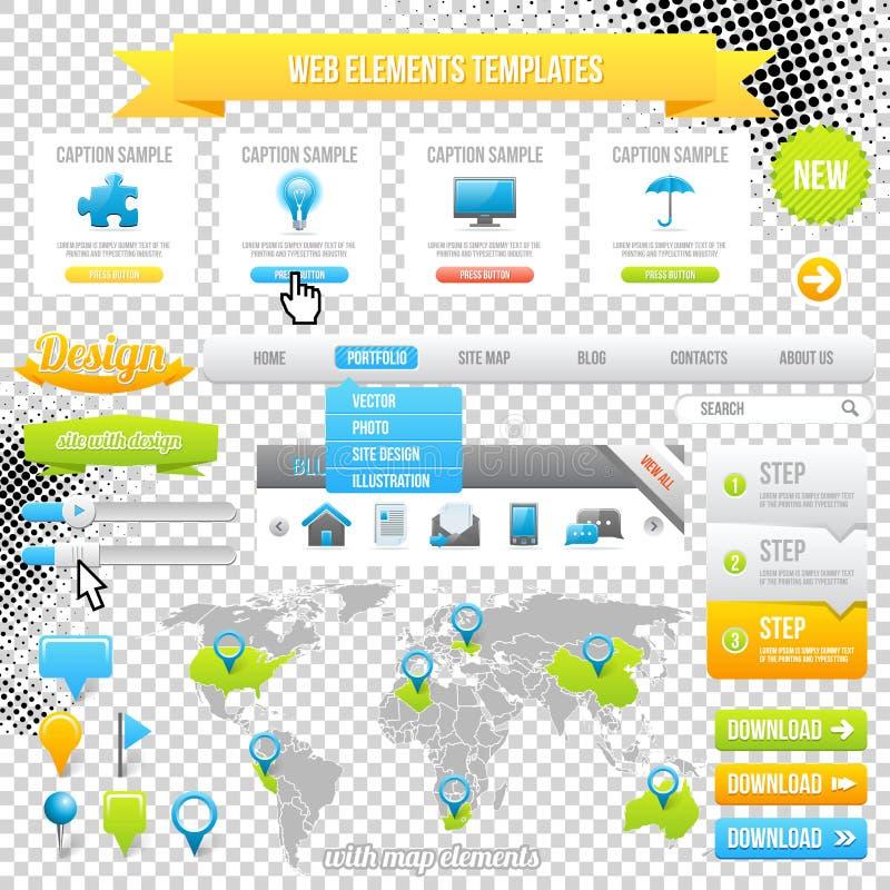 Elementi modello, icone, cursore, insegna e bottoni di Web. Vettore