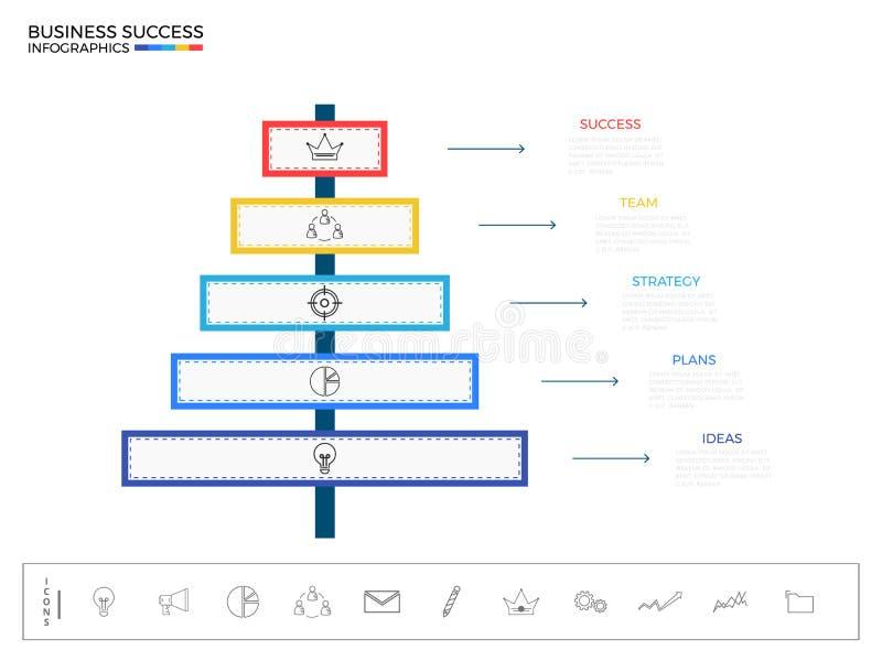 Elementi moderni di infographics del cartello Modello infographic di riuscito concetto di affari royalty illustrazione gratis