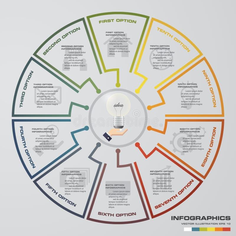 Elementi moderni di infographics del diagramma a torta di punti dell'estratto 10 Illustrazione di vettore illustrazione vettoriale