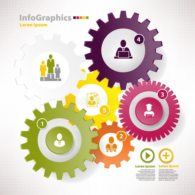 Elementi moderni di vettore per il infographics con differenti ruote dentate