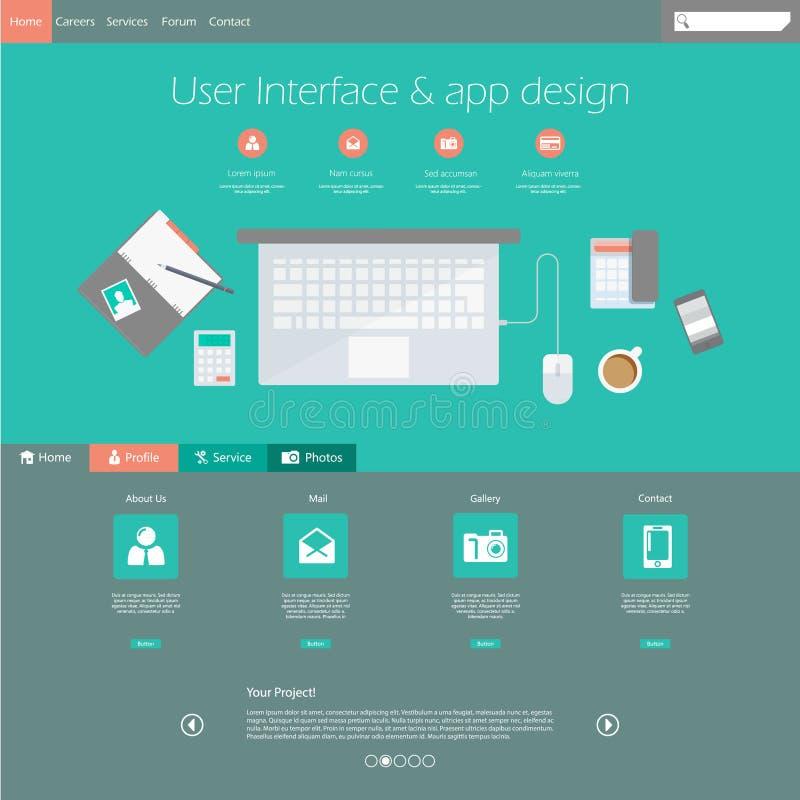 Elementi moderni piani di web design royalty illustrazione gratis