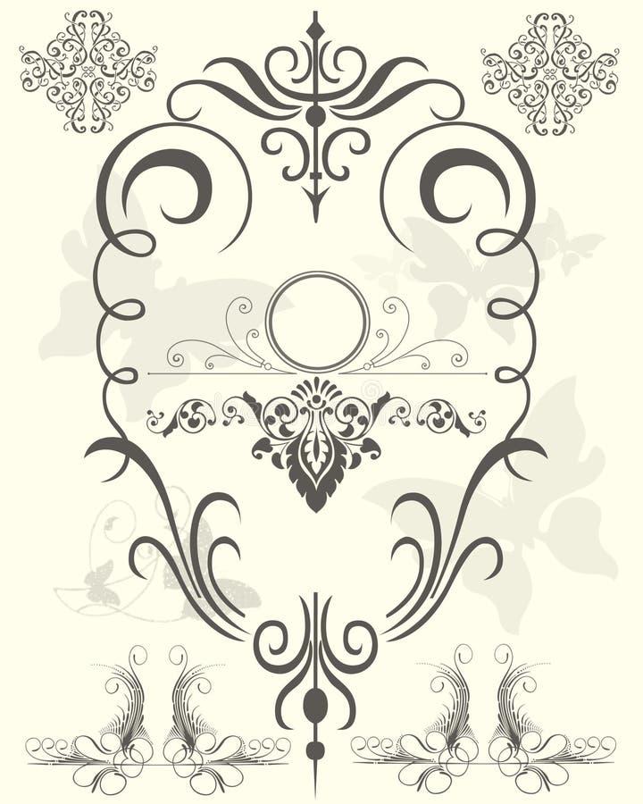 Elementi neri di progettazione floreale illustrazione di stock