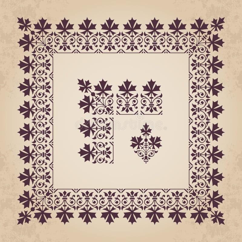 Elementi ornamentali calligrafici decorativi del confine e dell'angolo con la struttura nello stile d'annata illustrazione di stock