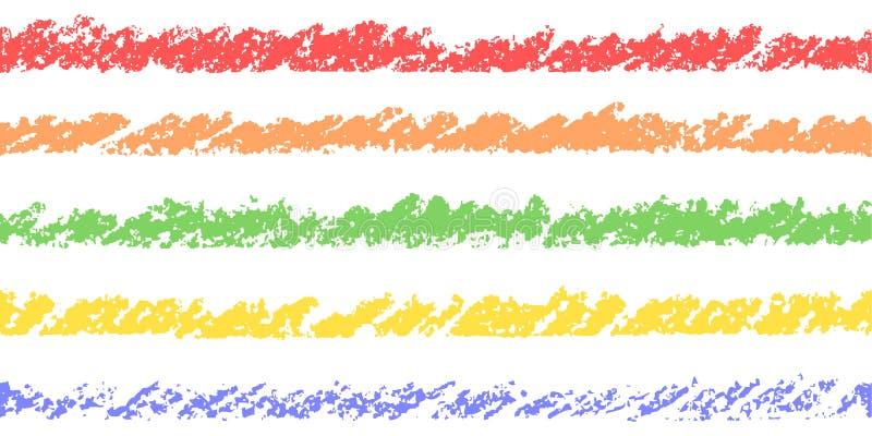 Elementi pastelli variopinti di progettazione del disegno della mano del pastello del gesso immagine stock libera da diritti