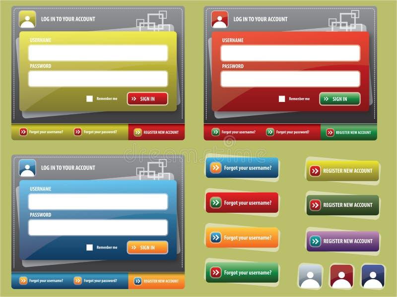 Elementi per la creazione dei Web site illustrazione vettoriale