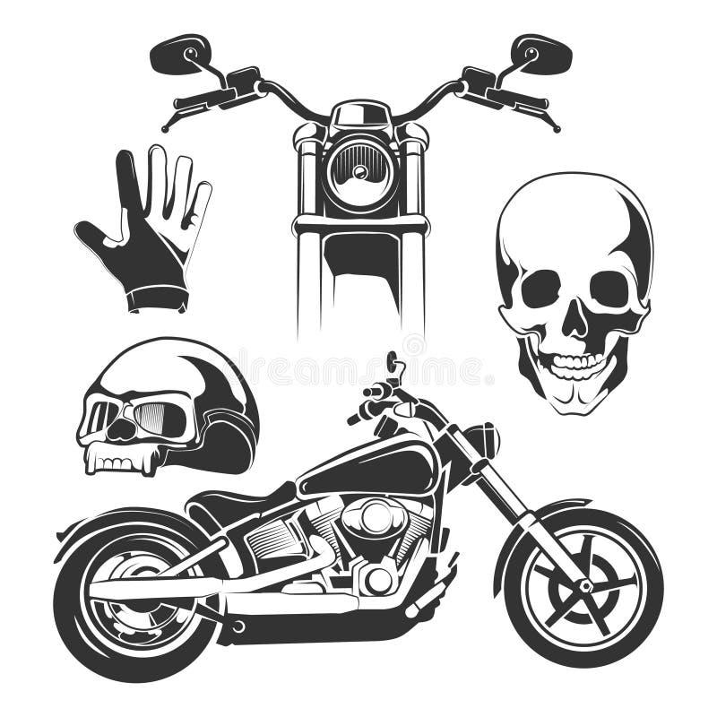 Elementi per le etichette del motociclista royalty illustrazione gratis