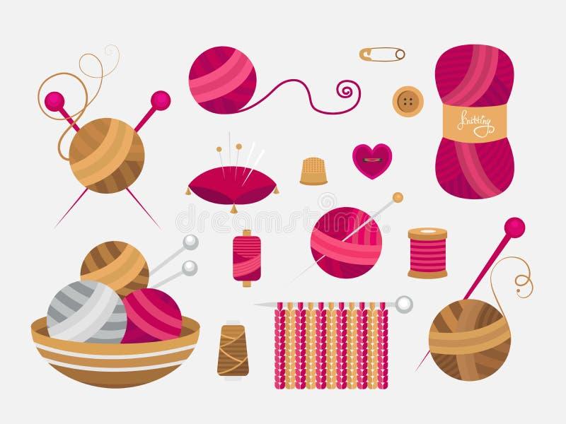 Elementi per tricottare e cucire illustrazione di stock